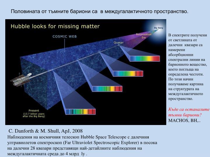 Половината от тъмните бариони са  в междугалактичното пространство.