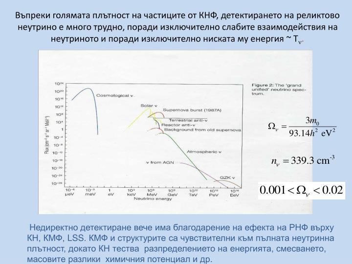 Въпреки голямата плътност на частиците от КНФ, детектирането на реликтово неутрино е много трудно, поради изключително слабите взаимодействия на неутриното и поради изключително ниската му енергия