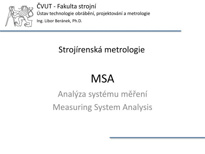 Anal za syst mu m en measuring system analysis