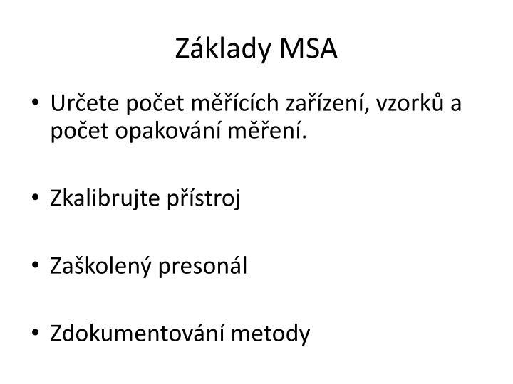 Základy MSA