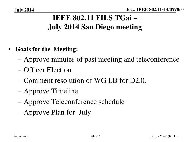 Ieee 802 11 fils tgai july 2014 san diego meeting