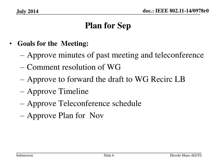 Plan for Sep