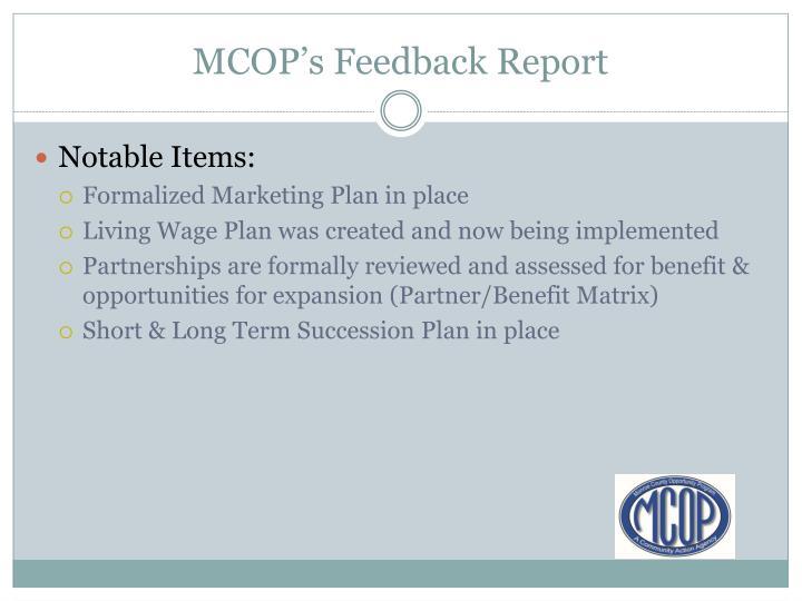 MCOP's Feedback Report