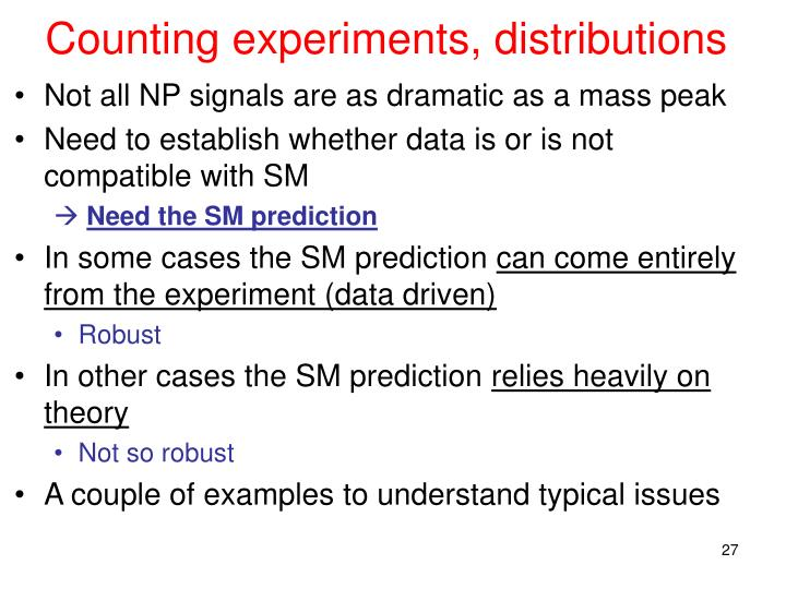 Counting experiments, distributions
