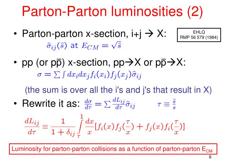 Parton-Parton luminosities (2)