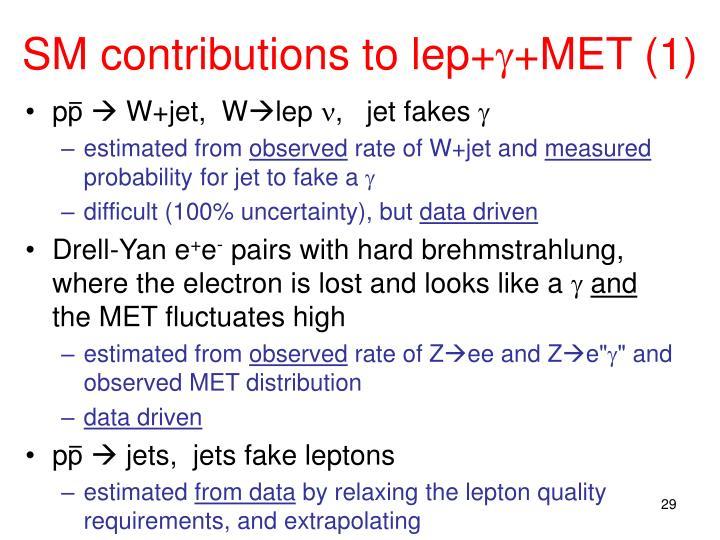 SM contributions to lep+