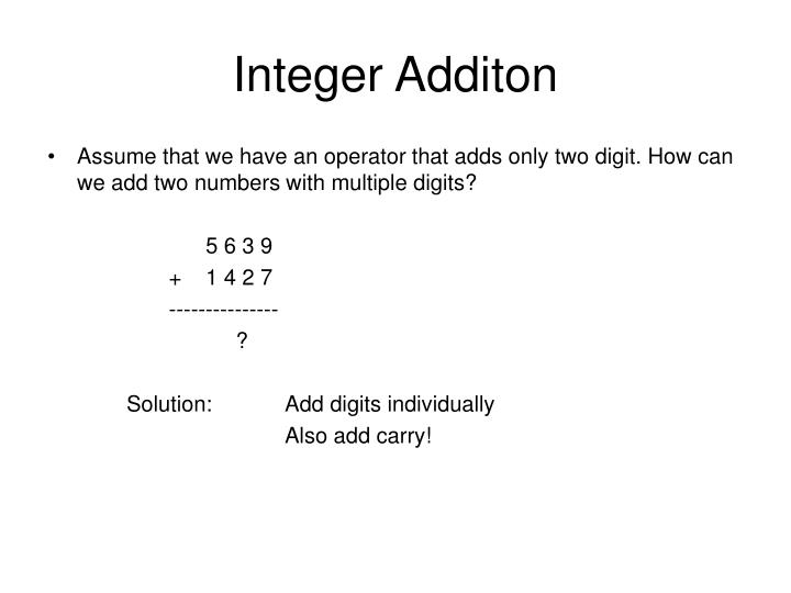 Integer Additon