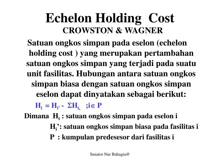 Echelon Holding  Cost