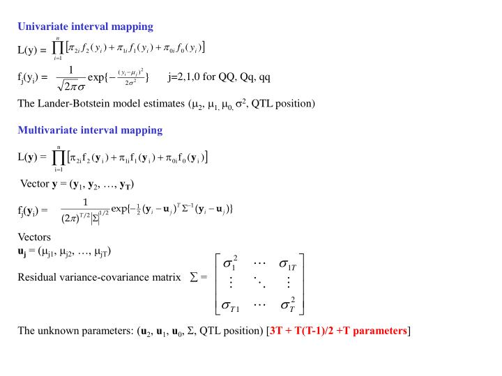 Univariate interval mapping