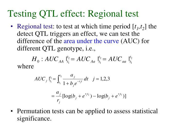 Testing QTL effect: Regional test