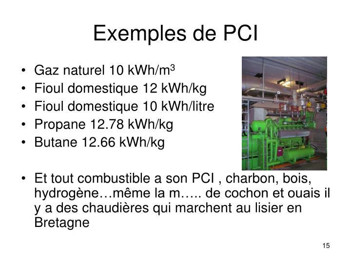 Exemples de PCI