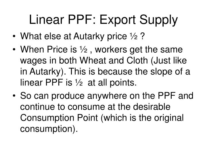 Linear PPF: Export Supply