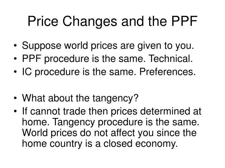 Price Changes and the PPF