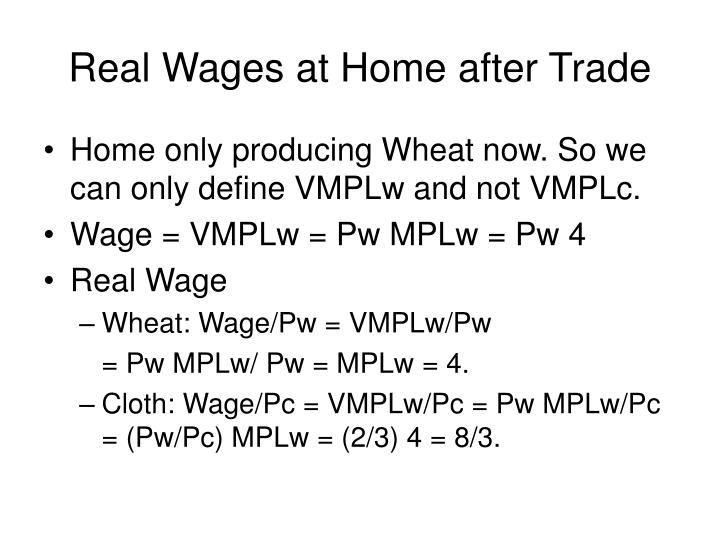 Real Wages at Home after Trade
