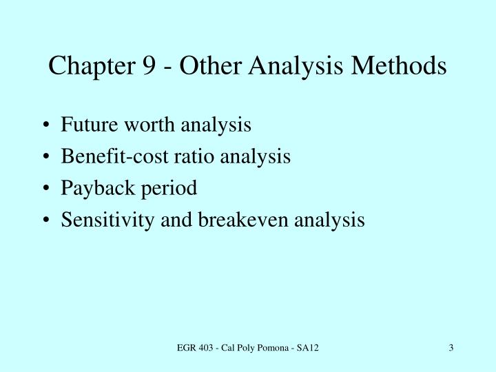 Chapter 9 - Other Analysis Methods