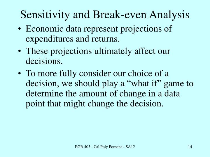 Sensitivity and Break-even Analysis