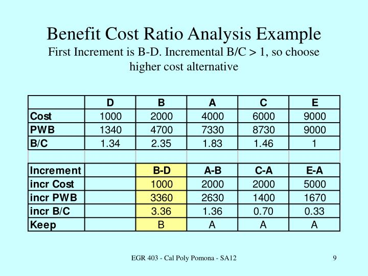 Benefit Cost Ratio Analysis Example