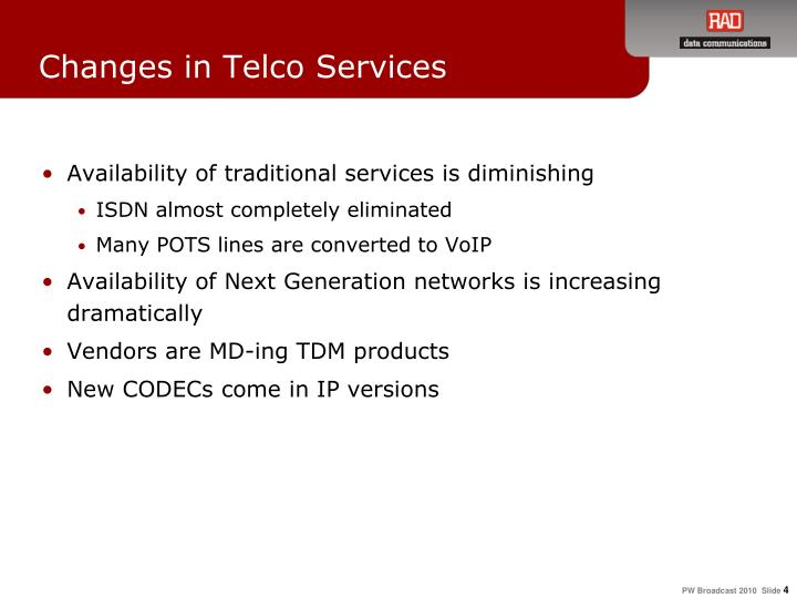 Changes in Telco Services