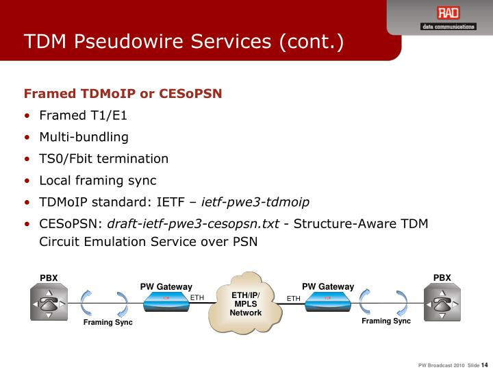 TDM Pseudowire Services (cont.)