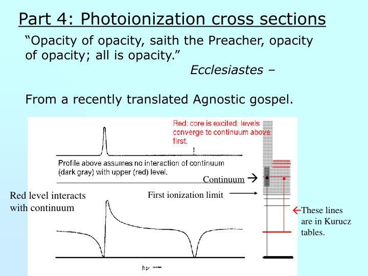 Part 4: Photoionization cross sections