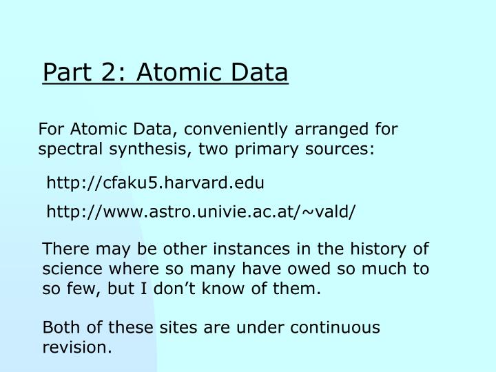 Part 2: Atomic Data
