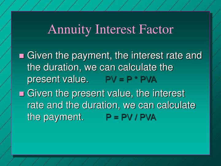 Annuity Interest Factor