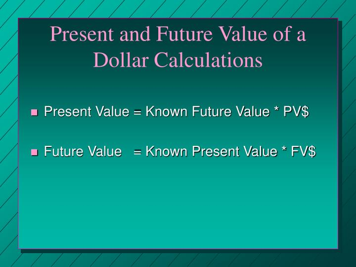 Present and Future Value of a Dollar Calculations