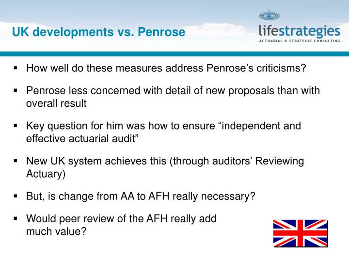UK developments vs. Penrose