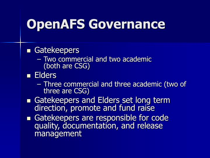 OpenAFS Governance