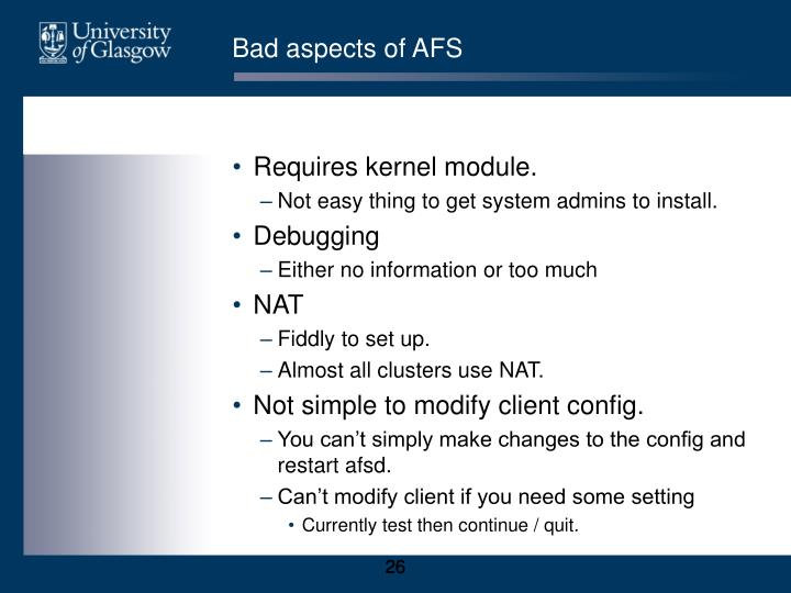 Bad aspects of AFS