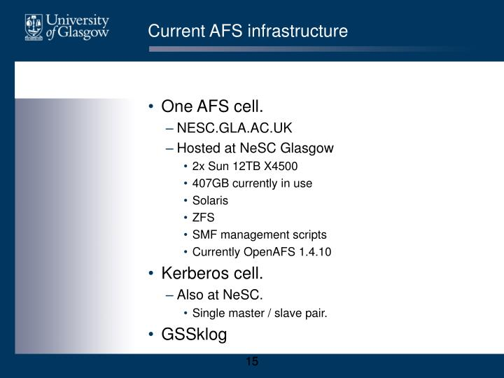 Current AFS infrastructure