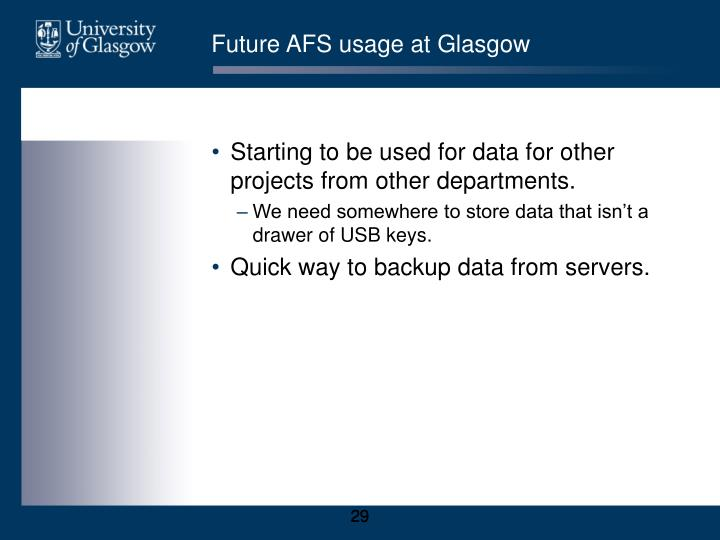 Future AFS usage at Glasgow