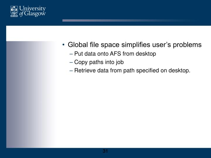 Global file space simplifies user's problems