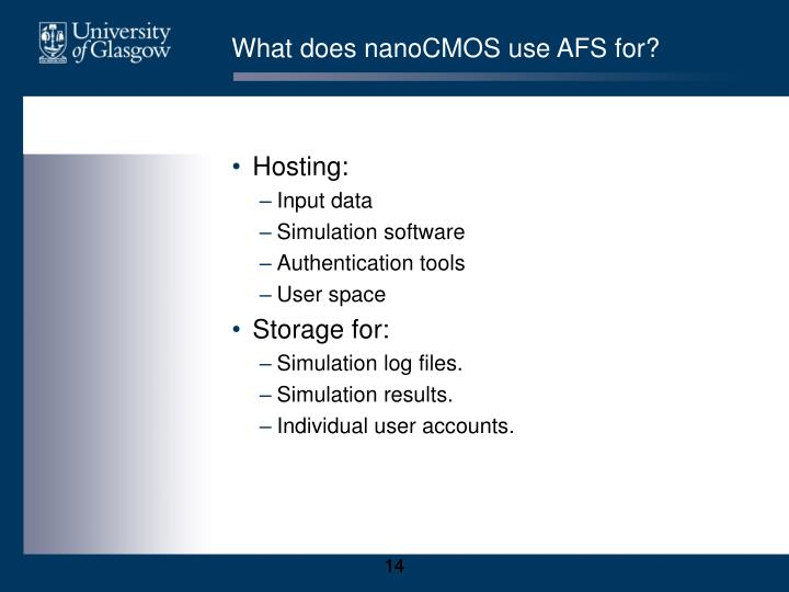 What does nanoCMOS use AFS for?