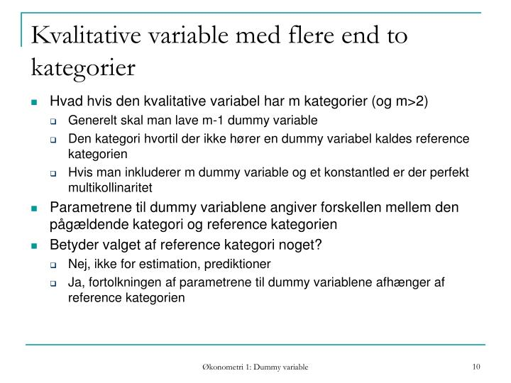 Kvalitative variable med flere end to kategorier