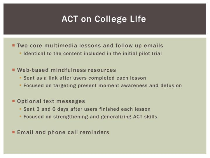 ACT on College Life