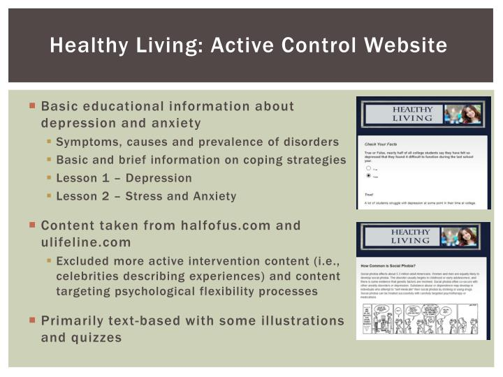 Healthy Living: Active Control Website