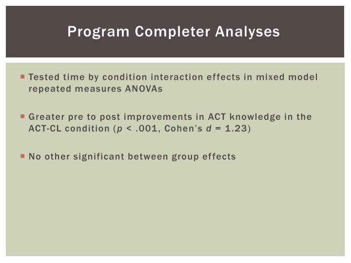 Program Completer Analyses