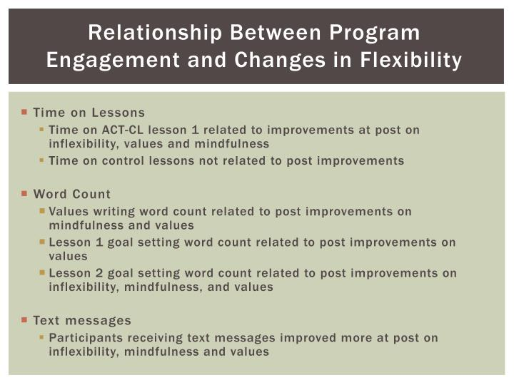 Relationship Between Program Engagement and Changes in Flexibility