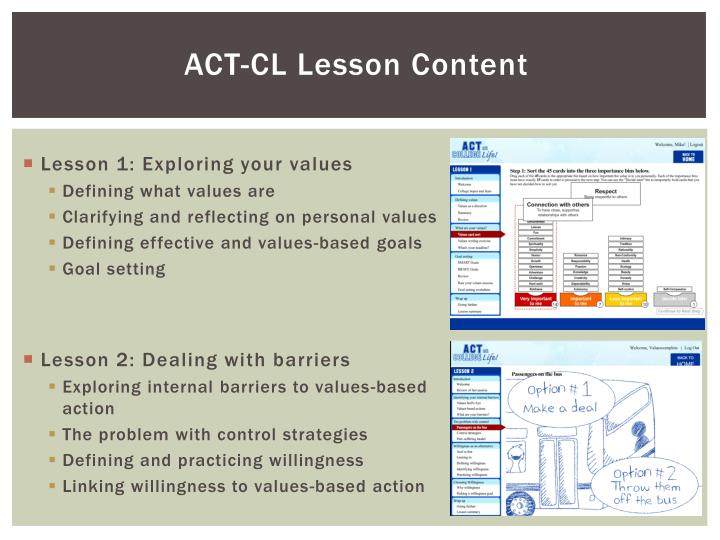 ACT-CL Lesson Content