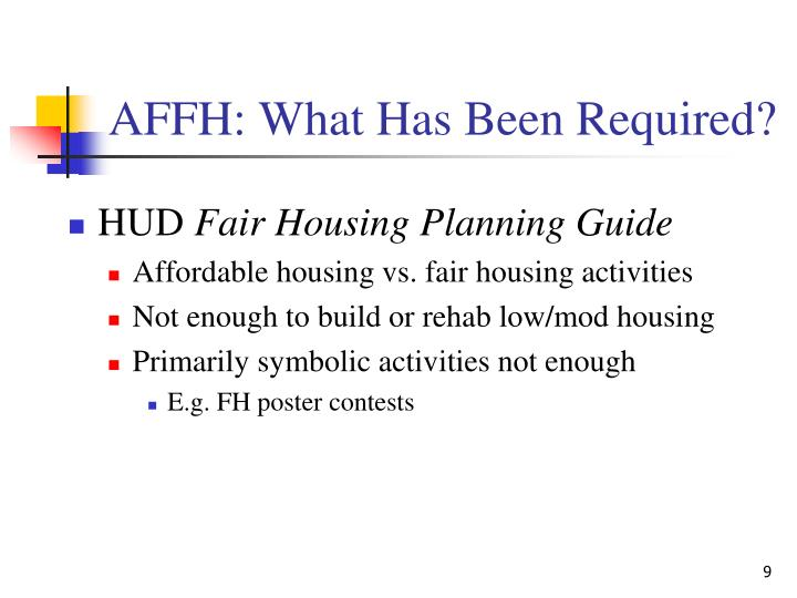 AFFH: What Has Been Required?