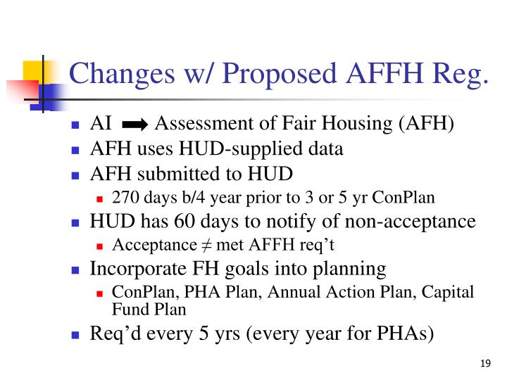 Changes w/ Proposed AFFH Reg.
