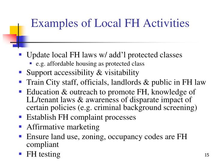 Examples of Local FH Activities
