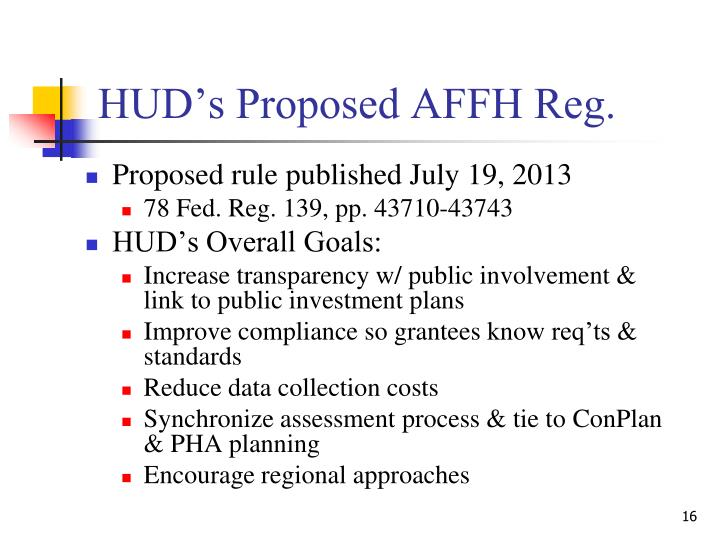 HUD's Proposed AFFH Reg.