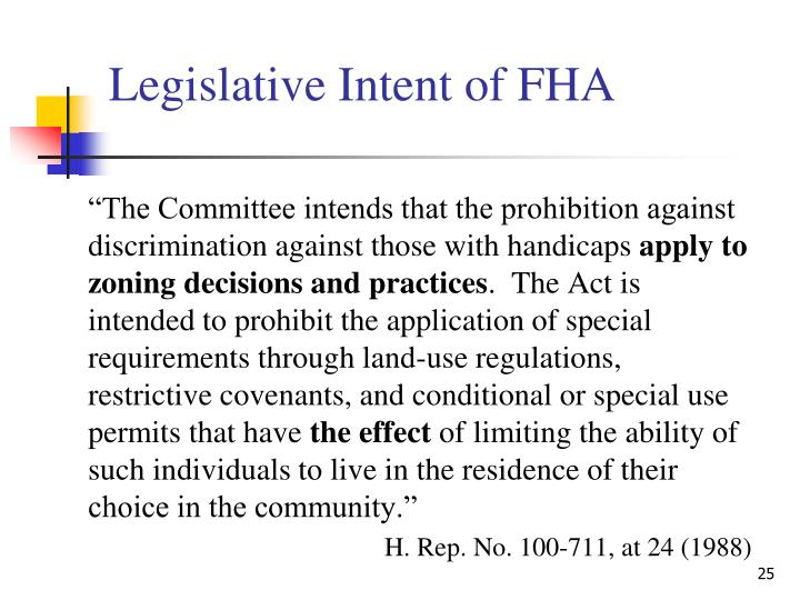 Legislative Intent of FHA