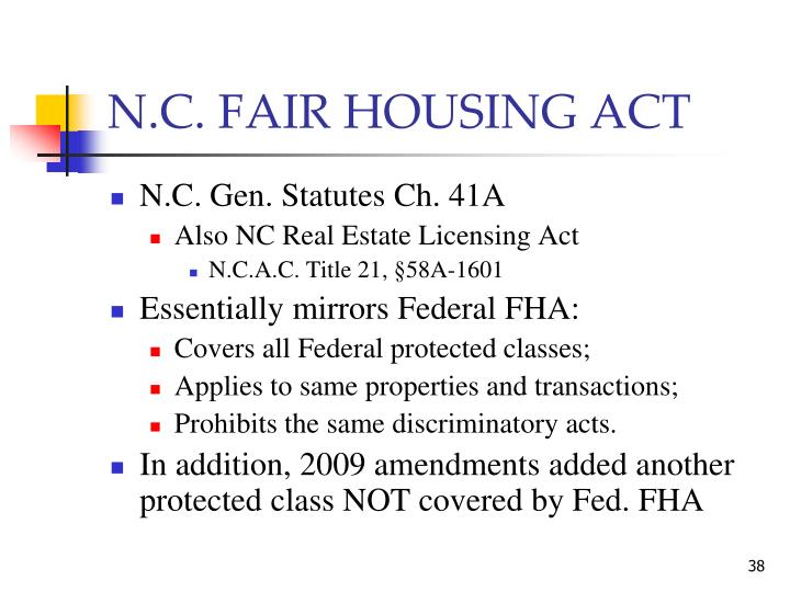 N.C. FAIR HOUSING ACT
