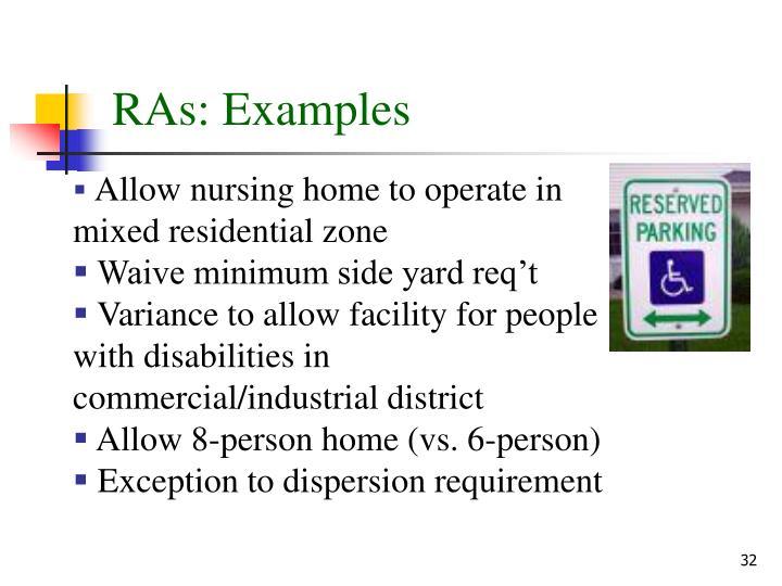 RAs: Examples