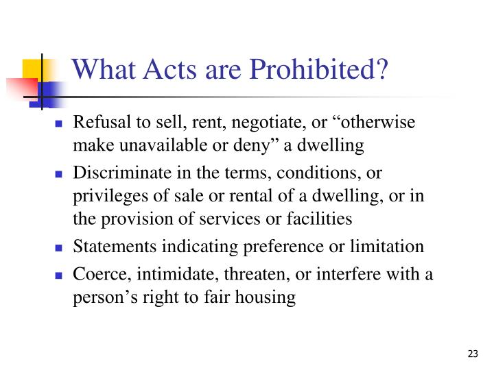 "Refusal to sell, rent, negotiate, or ""otherwise make unavailable or deny"" a dwelling"
