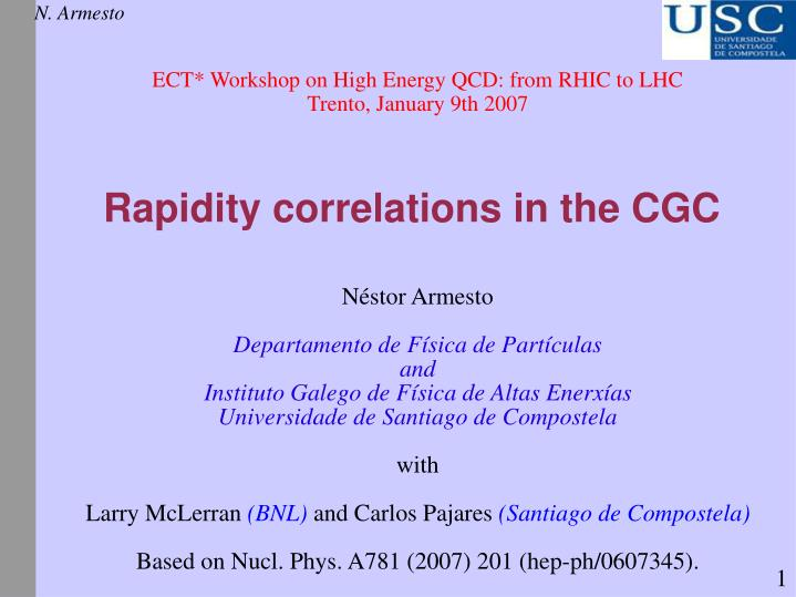 Rapidity correlations in the cgc
