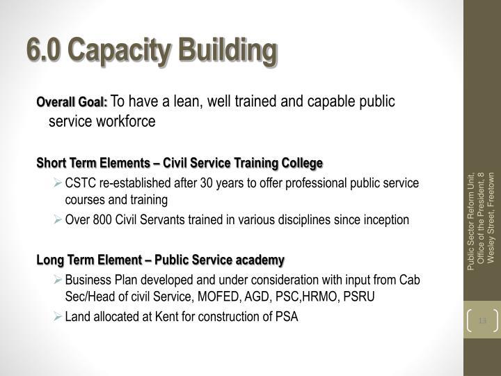 6.0 Capacity Building